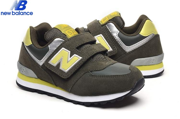 New Balance Kv574ogy Deep Green Yellow Silver Kids Shoe  - New Balance Kv574ogy Deep Green Yellow Silver Kids Shoe-01-0