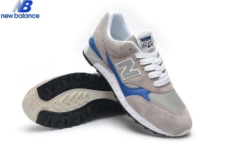 Men's New Balance 496 Gray Bleu Shoe  - Men's New Balance 496 Gray Bleu Shoe-01-1