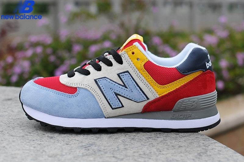 new balance 574 red blue and yellow