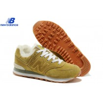 New Balance 574 Suede Wool For Winter Yellow White Warm-20