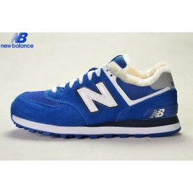 New Balance Ml574cpr Royal Bleu White Suede Wool Fur Winter