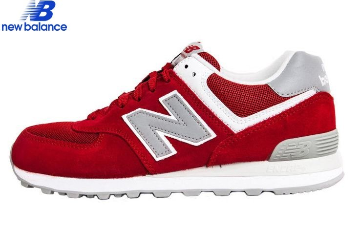 New Balance 574 Retro Lovers Suede Red Gray Men's Shoe  - New Balance 574 Retro Lovers Suede Red Gray Men's Shoe-01-7